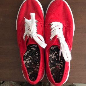 Red knock off van style sneakers
